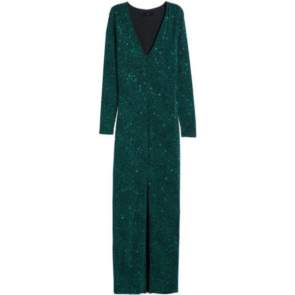 vrouwen designer mode mannen / man H&M Green/Teal Glitter Maxi Dress NWT